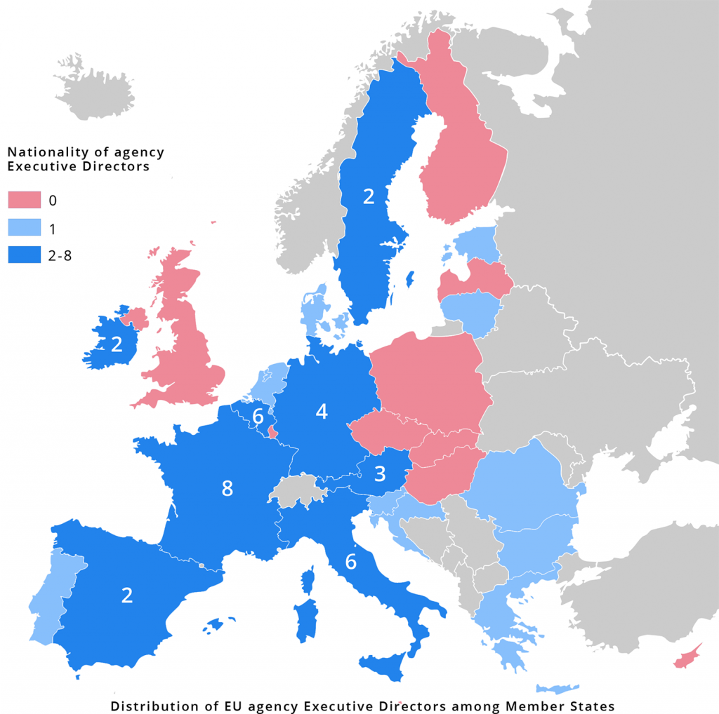 Distribution of EU agency directors among Member States highlighting the EU's East-West divide