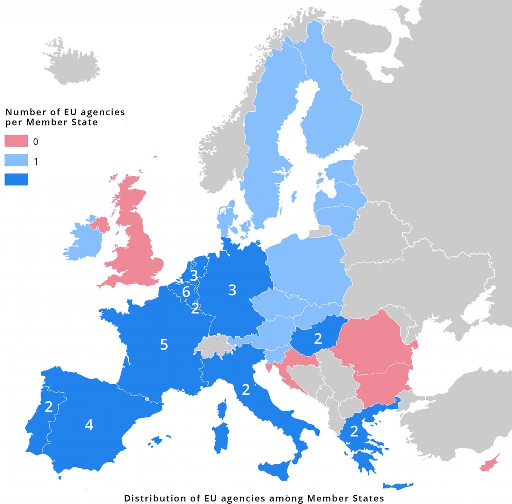 Location of EU agencies highlighting the EU's East-West divide