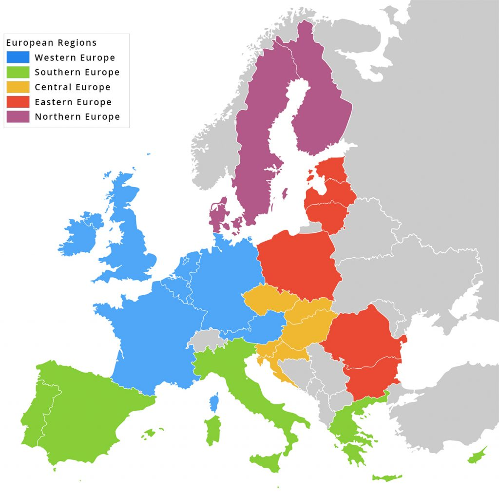 Map of European regions
