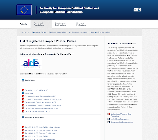 Information provided by the APPF on European parties mostly consists of lists of PDF files