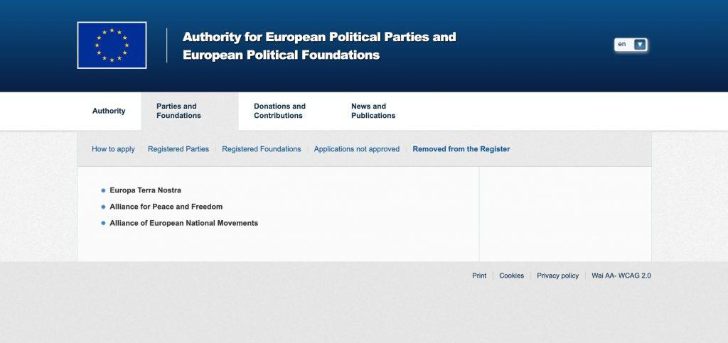 APPF Website - Deregistration