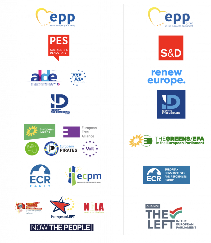 European political parties running for the 2019 European elections and their respective groups in the European Parliament