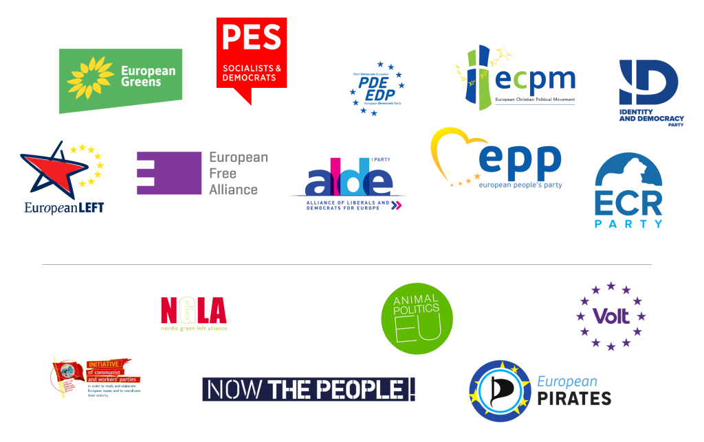 Registered and non-registered European political parties running in the 2019 European elections