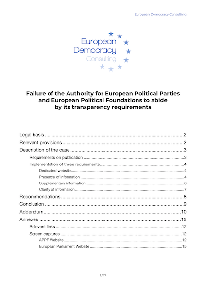 EDC report on complaint to the European Ombudsman against Authority for European Parties