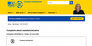 Complaint lodged on the website of the European Ombudsman