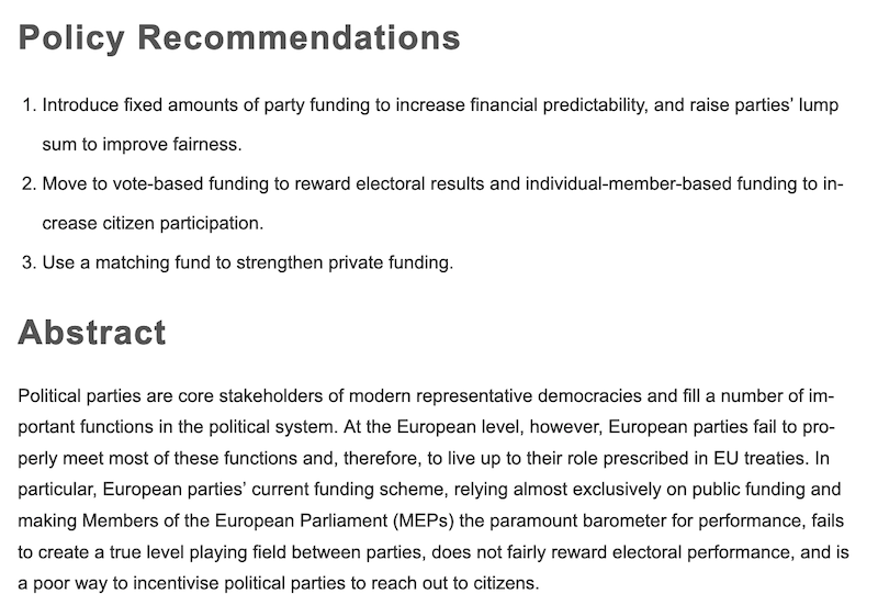 Policy recommendations for the reform of the funding of European parties