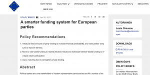 A smarter funding system for European parties