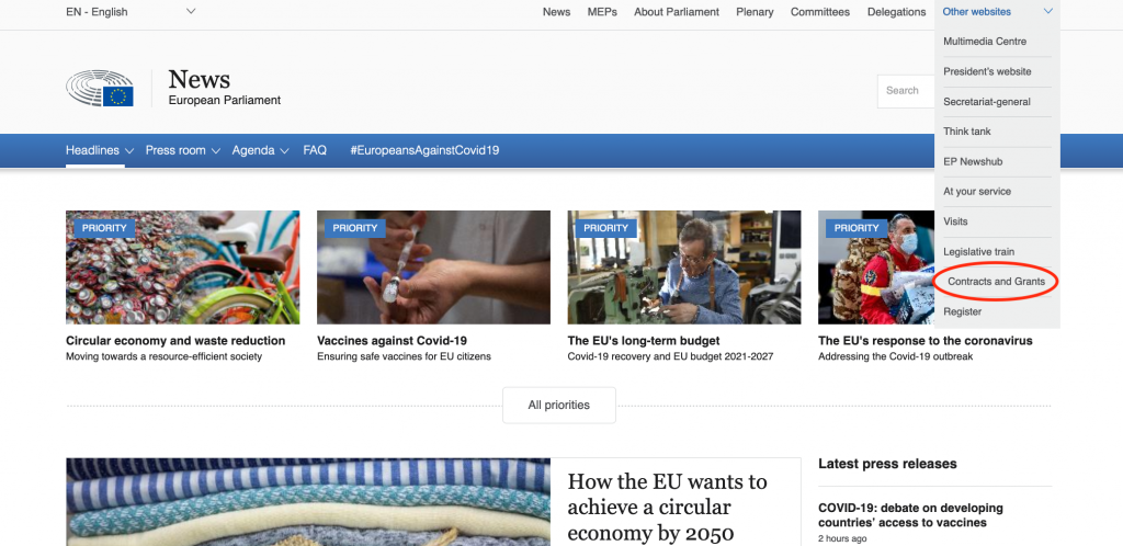 """Information on European parties on the European Parliament's website is located under """"other websites"""" and """"contracts and grants"""""""