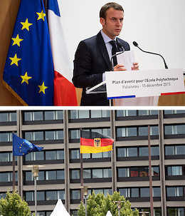 Use of the European flag alongside a national flag for a national event (up) and in front of a national building (below, Deutsche Bundesbank, Germany). The λogos project argues a similar use should be made for European parties' logos alongside national parties' own logos.