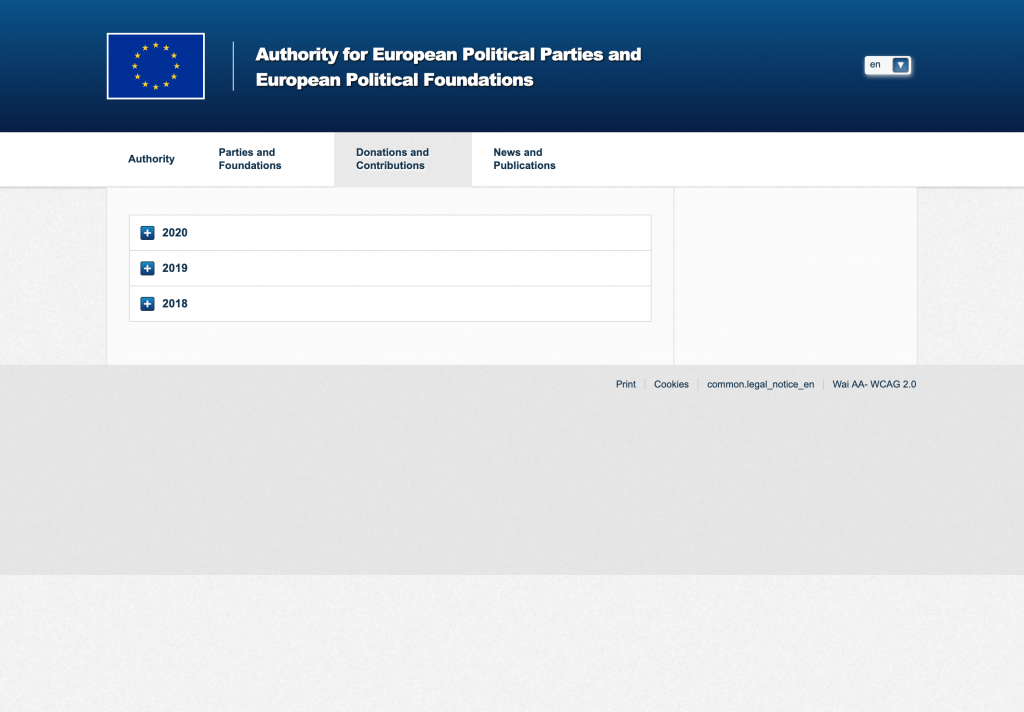 Page of the APPF website regarding donations and contributions for European political parties